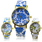 Women Faux Leather Band Flower Pattern Round Dial Analog Quartz Wrist Watch Cool