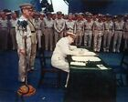 General Douglas MacArthur signs Japanese Surrender aboard Missouri Photo Print