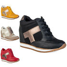 79Q WOMENS PU FAUX SUEDE LADIES LACE UP CONCEALED WEDGE HEELED TRAINERS SIZE 3-8