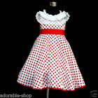 FREE SHIPPING Reds White Christmas Polkadot Flower Girls Party Dresses SIZE 4-5Y