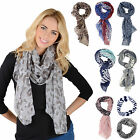 Womens Lightweight Sheer Printed Scarf / Snood Ladies Fashion Stole Shawl Gifts