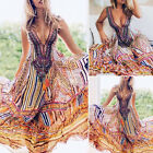 Fashion Women's Boho Floral V Neck Long Maxi Summer Beach Party Evening Sundress