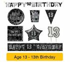 AGE 13 - 13th Birthday BLACK & SILVER GLITZ - Party Banners Balloons&Decorations