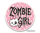 Cute Zombie Girl Decal Polka Dots Pink Bow Skull Gloss Vinyl Sticker H33