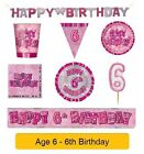 AGE 6 - Happy 6th Birthday PINK GLITZ - Party Banners, Balloons & Decorations