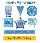AGE 30 - Happy 30th Birthday BLUE GLITZ - Party Balloons, Banners & Decorations