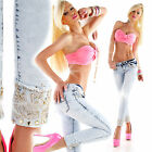 Women's Skinny Stretch Blue Denim Ladies Jeans with Rhinestone Turn Ups 12, 14