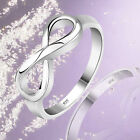 Women 925 Sterling Silver Plated Infinity Ring Endless Love Symbol Fashion Ring