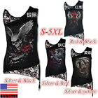 Womens Scary Skull Print Tank Top Punk Vest T-Shirt Slim Casual Sleevless Tops