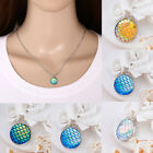Women Mermaid Scale Resin Charms Collar Pendant Alloy Chain Necklace Jewelry NEW
