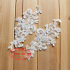 22*10cm, 2PC Flower Embroidered Lace Trim Sewing Applique Dress Decor FL207