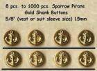"8 to 1000 pcs. Metal 5/8"" Vest Buttons Sparrow Pirate Gold- Costumes Theater"