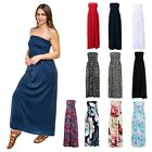Women's Strapless Maxi Dress Plus Size Tube Top Long Skirt Sundress Cover Up