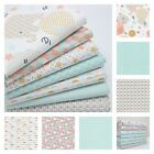 NURSERY ELEPHANTS AND PASTEL SCALLOPS 100% COTTON fabric FQ METRE mint pink