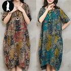 Womens Summer Floral Oversized Loose Short Sleeve Tunic Baggy Long Shirt Dress