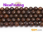 Natural Faceted Brown Bronzite Round Stone Beads For Jewelry Making Strand 15""