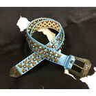 9512 Wildfire Ladies Turquoise Leather Belt with Antique Gold Studs NEW