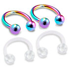 4pcs 16g Horseshoe Barbell Cartilage Flexible Helix Navel Snakebite Rainbow 366