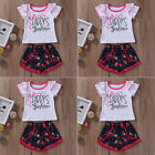 Lovely Toddler Baby Girl Floral 2PCS T-shirt Tops+Short Pants Outfits Clothes