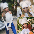 Women Winter Beanie Hat Warm Knitted Ladies Fashion Large Genuine Fur Pom Lovely