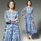 Womens Long Sleeve Slim Fit Party Evening Floral Printed Maxi Long Party Dress