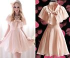 Elegant Cute Kawaii Princess Sweet Women Lolita Slim Cape sleeve Pink dress