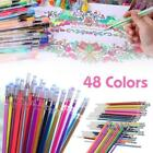48 Colors Gel Pens Glitter Coloring Drawing Painting Craft Markers Stationery TS