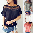 Fashion Women Lady Casual Loose Tops Short Sleeve T-Shirt Summer Lace Blouse Top