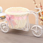 Rattan Tricycle Bike Flower Basket Vase Storage Home Wedding Party Decoration
