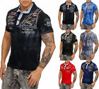 Men's Washed Look Polo Camp Short Sleeve Shirt Clubwear T-Shirt Short-sleeved