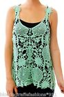 Mint Green Open Crochet Applique Pullover Cover-Up Sleeveless Tank Top
