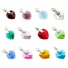4x Sterling Silver Birthstone Heart Crystal Charm Made with Swarovski Elements