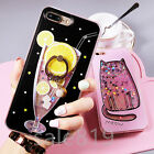 For iPhone 6 6S 7 Plus Flowing quicksand Cute pattern Soft TPU Ring Stand Case
