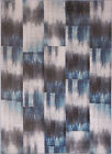 Modern Blue Gray Area Rug Abstract Blocks Squares Contemporary Outdoor Carpet