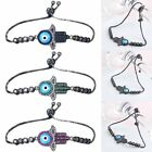 Women Men Rhinestone Hand Evil Eye Adjustable Chain Bracelet Bangle Wristlet