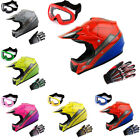 Youth Motocross Helmet Kids Spider MX BMX ATV Bike +MX Goggle+MX Glove Bundle
