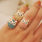 1pcs Fashion Women Engagement Party Owl Ring Pearl Rhinestone Gold Plated Rings