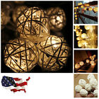 Decoration LED Color Rattan Ball String Fairy Lights Xmas Wedding Party Sweet US