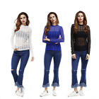 Femmes sexy Mesh Casual manches longues tee shirt Clubwear Tops Dame blouse