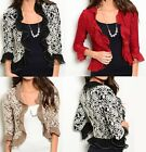 Ruffled 3/4 Sleeve Mesh Lace Overlay Hook/Eye Front Bolero/Shrug/Cardigan S M L