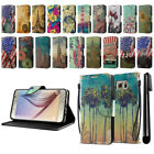For Samsung Galaxy S6 G920 Vintage Design ID Card Wallet Cover Case Stand + Pen