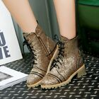 Womens Fashion Glitter Paillette Lace up Zipper Chunky Low Heels Punk Ankle Boot