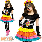 Day of the Dead Skeleton Girls Fancy Dress Halloween Kids Childs Costume 4-14 Y