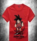 Dragonball Z Basketball Bulls Air Goku AJ Red Short Sleeve T-shirt Tee New