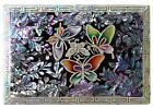 Jewelry Trinket Box Mother of Pearl Inlay Hand Crafted Butterflies Black Pink
