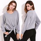 FLORHO Women's Knotted Crew Neck Hoodies Sweatshirt Pullover Casual Tops Shirts