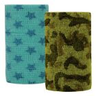 "VET Powerflex Wrap Bandage 4"" x 5 yards Zebra Camo Turquoise Stars 6 Pack 90feet"