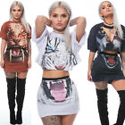3D Printed Tiger Panther Dress Womens T Shirt Tops Skirt Two 2 Piece Set Outfits