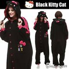 Adults Kigurumi Pajamas Anime Black HelloKitty Cat Cosplay One-Piece Sleepwear