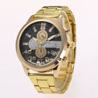 Men Luxury Black/Gold Watch Glass Fake Multi Dial Quartz Wristwatch Gift